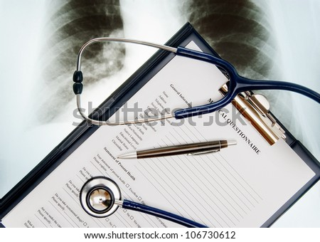 Stethoscope; Xray photo and medical questionnaire form