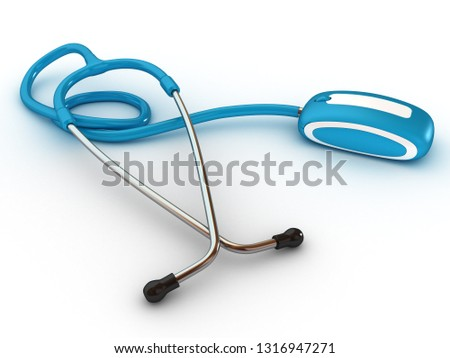 Stethscope and computer mouse. Medical Technologies. 3D rendering illustration