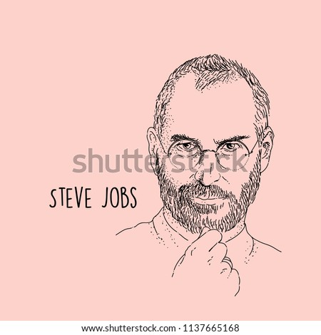Steve Jobs Line Art Portait Hand Drawing