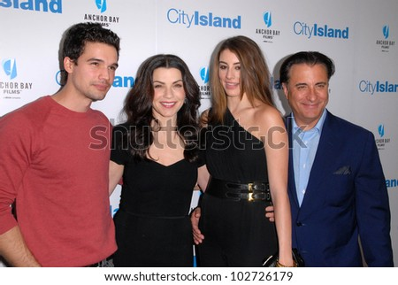 "Steven Strait, Julianna Margulies, Dominik Garcia-Lorido and Andy Garcia at the ""City Island"" Los Angeles Premiere, Landmark Theaters, Los Angeles, CA. 03-15-10"