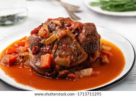 Stew beef meat shin with bone, osso bucco Foto stock ©