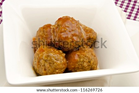 Stew beef meatballs with tomato sauce typical of Spain