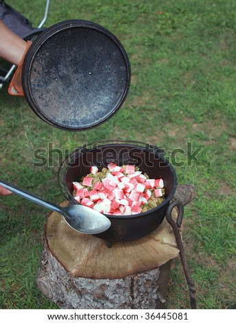 stew being made in a dutch oven by the campfire