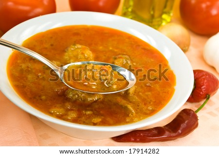 stew-goulash soup -with red bell pepper and cubes of meat,-beef,pork,chicken