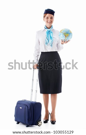 Stewardess with a suitcase and globe on white background
