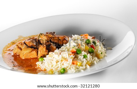 Stewed Meat and Rice with Vegetables
