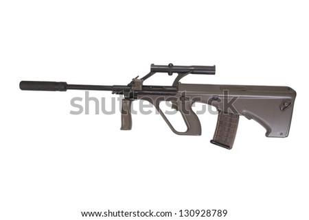 Steyer Aug assault rifle with silencer - stock photo