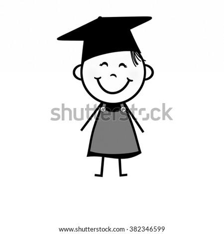 Stick Figure Girl - Graduation