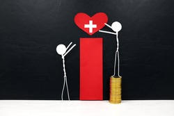 Stick man figure reaching for a red heart shape with cross cutout while stepping on stack of coins. Health, healthcare, medical care and hospital access inequality concept