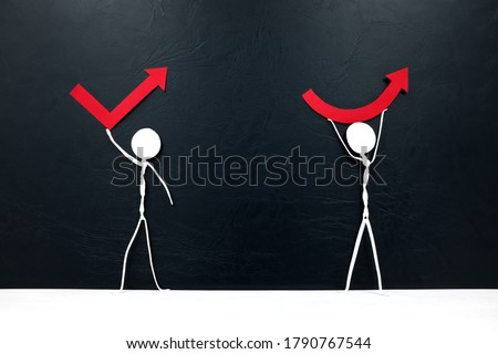 Stick man figures holding different rebound arrow shapes. Covid-19 pandemic crisis economic recovery concept. Stock photo ©