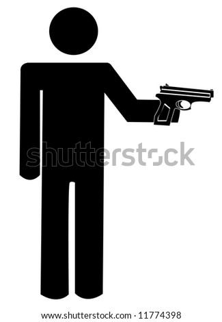 stick man or figure armed with hand gun