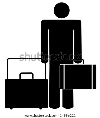 stick man or figure with briefcase and luggage
