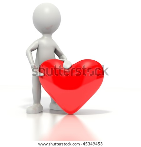 Stick man standing next to and presenting a red heart. Isolated on white with a clipping path.