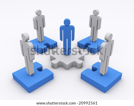Stick man standing on puzzle pieces with a blue leader in the center. Concept of teamwork, leadership, cooperation,...