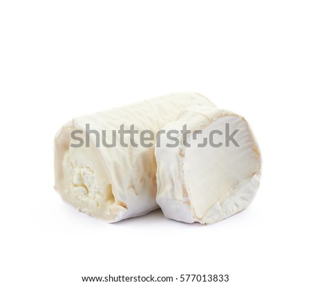 Stick of a goat cheese isolated over the white background