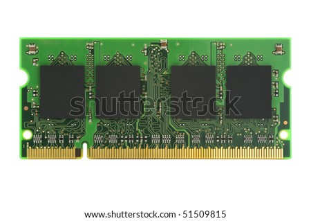 Stick of RAM isolated on white with clipping path