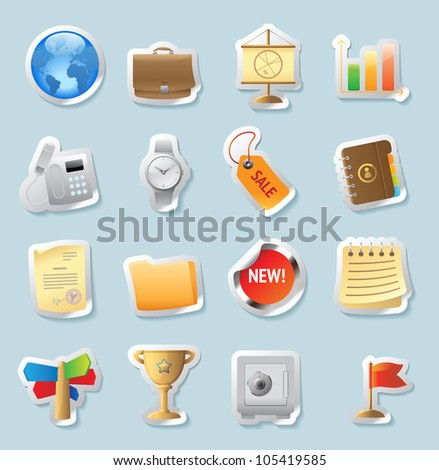 Sticker button set. Icons for business and finance. Raster version. Vector version is also available. - stock photo