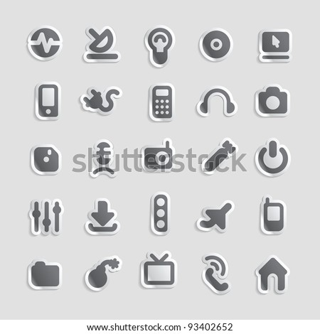 Sticker button set. Icons for industry and technology. Raster version. Vector version is also available.