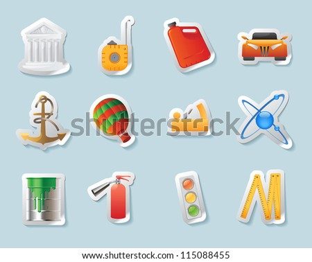Sticker button set. Icons for industry, construction and energy. Raster version. Vector version is also available.