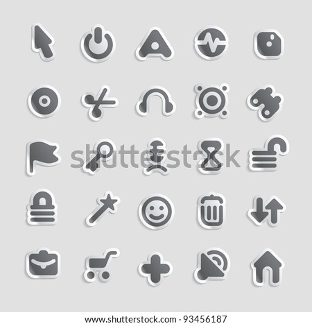 Sticker button set. Icons for program and website interface. Raster version. Vector version is also available.