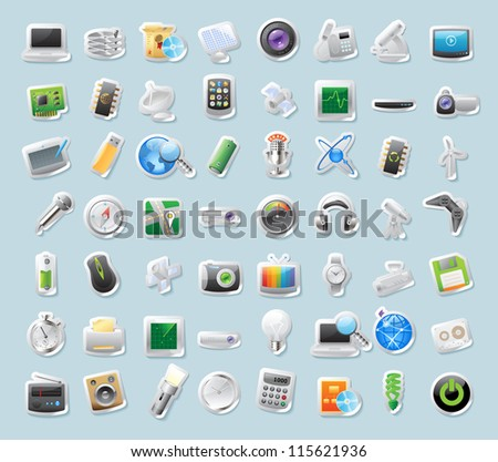 Sticker button set. Icons for technology and devices. Raster version.