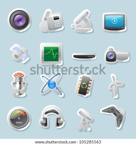 Sticker button set. Icons for technology and devices. Raster version. Vector version is also available.