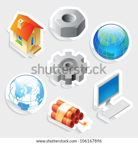 Sticker icon set for industry and technology.  Raster version. Vector version is also available.