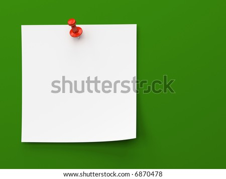 Sticker note isolated on the green background