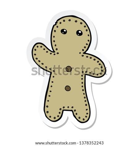 sticker of a cartoon gingerbread man #1378352243