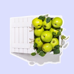 Sticker of fresh green apples in a wooden box on a blue background. Healthy season fruits with lots of vitamins. Badge of eco friendly fruits packaging and storage. Insignia of harvest Day Celebration