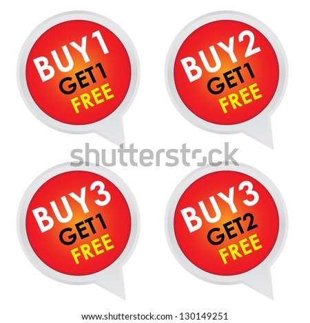 Sticker or Label For Marketing Campaign, Buy 1 Get 1 Free, Buy 2 Get 1 Free, Buy 3 Get 1 Free and Buy 3 Get 2 Free With Red Icon Isolated on White Background