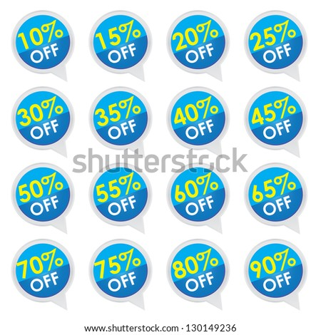 Sticker or Label For Marketing Campaign, 10-90% Off With Blue Icon Isolated on White Background