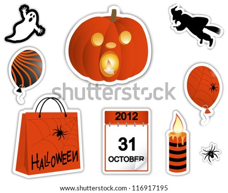 Sticker pumpkin with a burning candle, the ghost, witch and other symbols of the holiday. Halloween stickers. Raster version. - stock photo