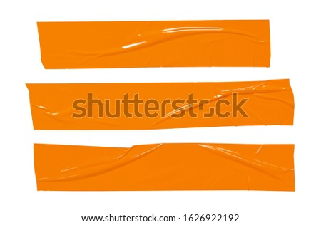 Sticker tape ripped torn pieces. Orange sticky plastic tapes set isolated on white background