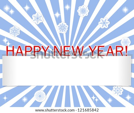 Stickers Happy New Year, snowflakes and blank banner against the blue rays. Raster version.