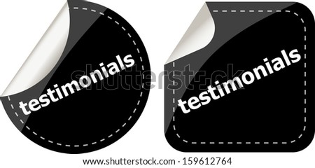 stickers label set business tag with testimonials word, raster