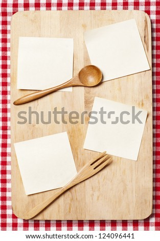 stickers on wooden board for recipes