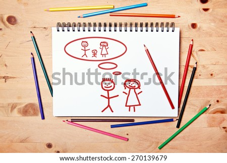 stickman background - drawing block - family planing getting a baby #270139679