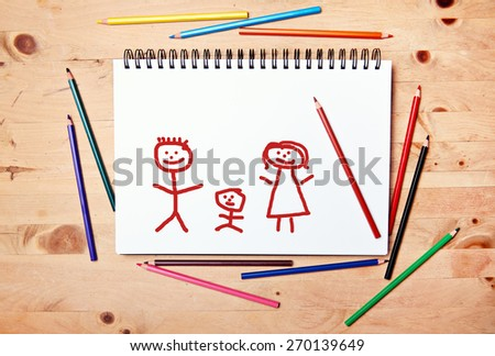 stickman background - drawing block - happy family #270139649