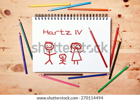 stickman background - drawing block - sample text - hartz IV #270114494