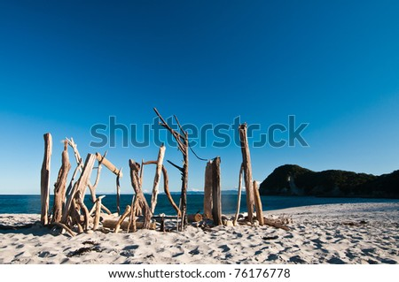 Sticks on beach