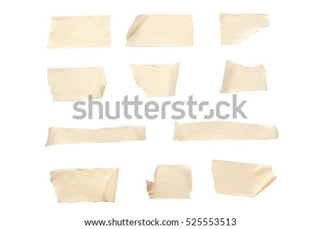 Sticky Brown paper (mask tape) piece isolated on white background. with clipping paths