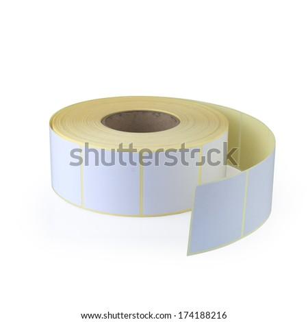 Sticky label roll on white background.