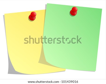 Sticky note and red push pin