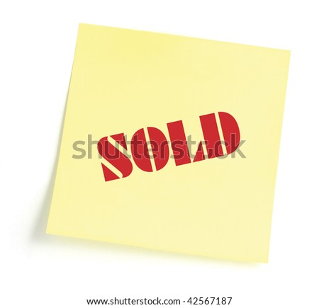 Sticky note indicating item is sold, isolated yellow sticker