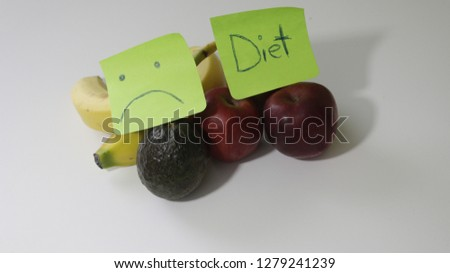 sticky note with a sad face and a diet on it, concept of bad diets and hating dieting.