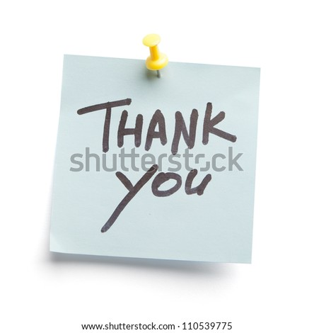 Sticky note with text Thank you on it, isolated on white background