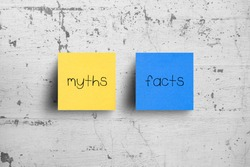 Sticky notes on concrete wall, Myths Facts