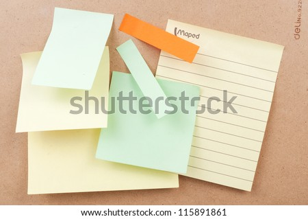 Sticky notes paste on the board