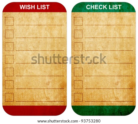 Sticky pad wish list and check list form on note old paper